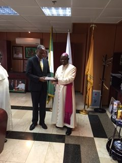 Archbishop Ignatius Kaigama visits Honourable Minister of Foreign Affairs, Hon. Geoffrey Onyeama